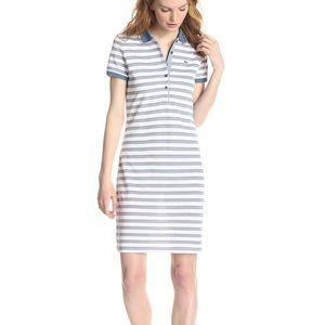 🌷 Lacoste Striped Pique Cotton Polo Dress